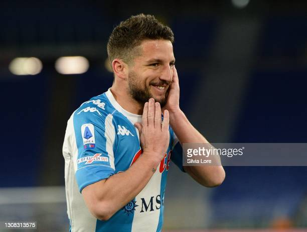 Dries Mertens celebrates after scoring goal 1-0 during the Serie A match between AS Roma and SSC Napoli at Stadio Olimpico on March 21, 2021 in Rome,...