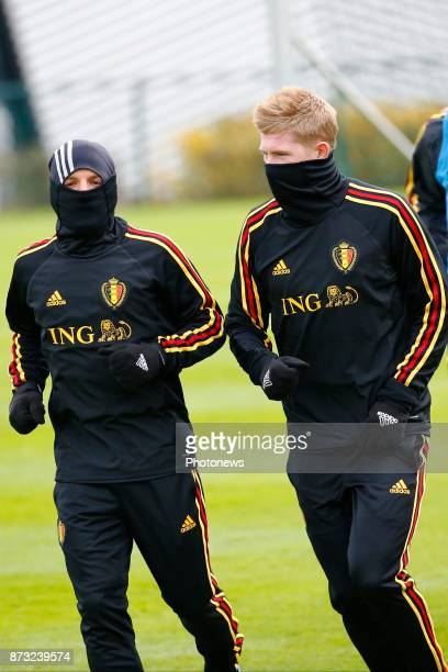 Dries Mertens forward of Belgium and Kevin De Bruyne forward of Belgium picture during the press conference and training session of the Red Devils at...