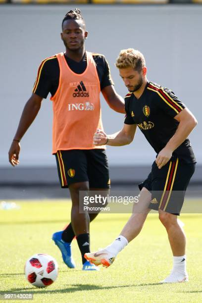 Dries Mertens forward of Belgium and Michy Batshuayi forward of Belgium during a training session as part of the preparation prior to the FIFA 2018...