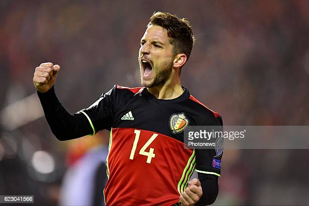 Dries Mertens forward of Belgium celebrates scoring a goal during the World Cup Qualifier Group H match between Belgium and Estonia at the King...