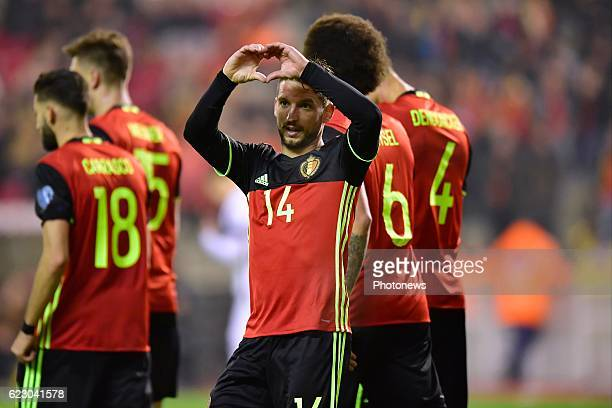 Dries Mertens forward of Belgium celebrates scoring a goal with a statement during the World Cup Qualifier Group H match between Belgium and Estonia...