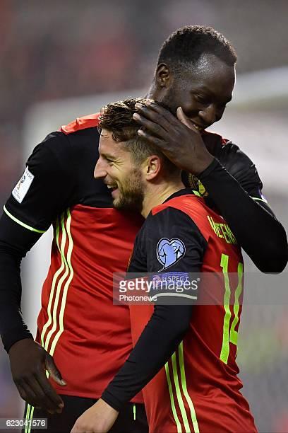 Dries Mertens forward of Belgium celebrates scoring a goal with teammate Romelu Lukaku forward of Belgium during the World Cup Qualifier Group H...