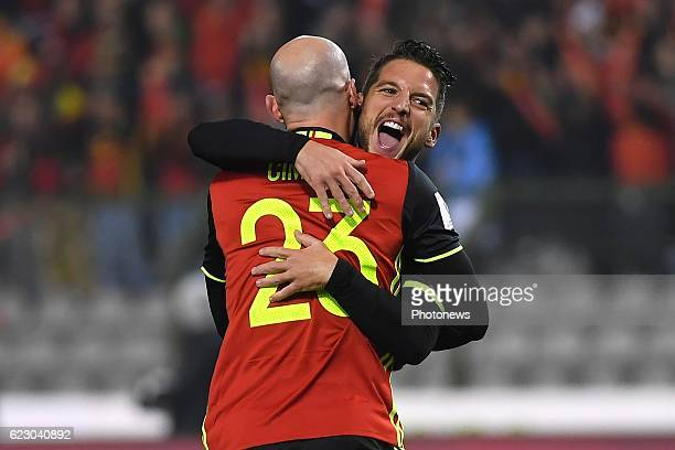 Dries Mertens forward of Belgium celebrates scoring a goal with teammates during the World Cup Qualifier Group H match between Belgium and Estonia at...