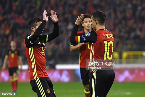 Dries Mertens forward of Belgium, Eden Hazard midfielder of Belgium celebrates scoring a goal with teammates midfielder of Belgium celebrates scoring...