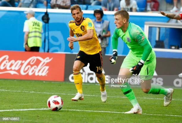 Dries Mertens forward of Belgium Jordan Pickford goalkeeper of England during the FIFA 2018 World Cup Russia Playoff for third place match between...