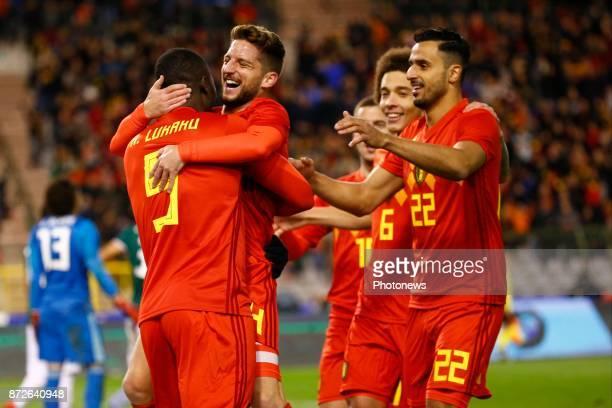 Dries Mertens forward of Belgium ^ Romelu Lukaku forward of Belgium scores and celebrates during a FIFA international friendly match between Belgium...