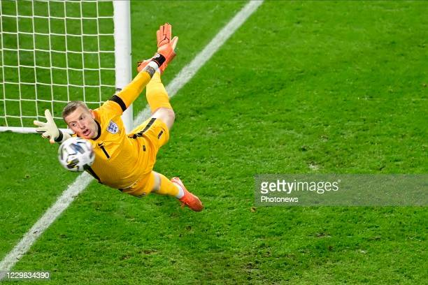 Dries Mertens forward of Belgium scores against Jordan Pickford goalkeeper of England during the UEFA Nations League match group stage final...