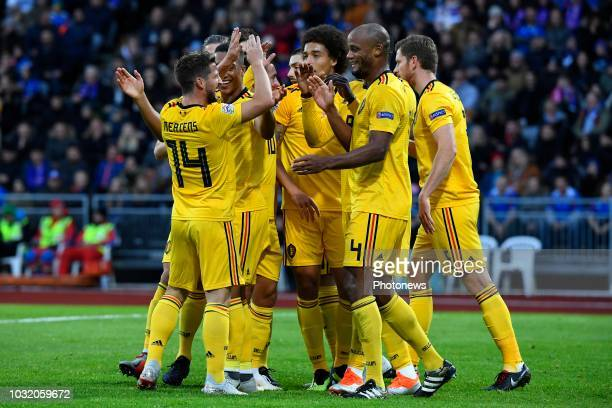 Dries Mertens forward of Belgium Vincent Kompany defender of Belgium pictured during the UEFA Nations League match between Iceland and Belgium on...