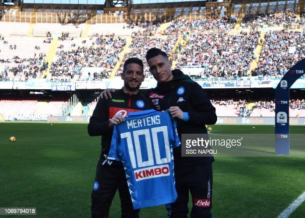 Dries Mertens Jos Callejon ahead of the Serie A match between SSC Napoli and Frosinone Calcio at Stadio San Paolo on December 8 2018 in Naples Italy