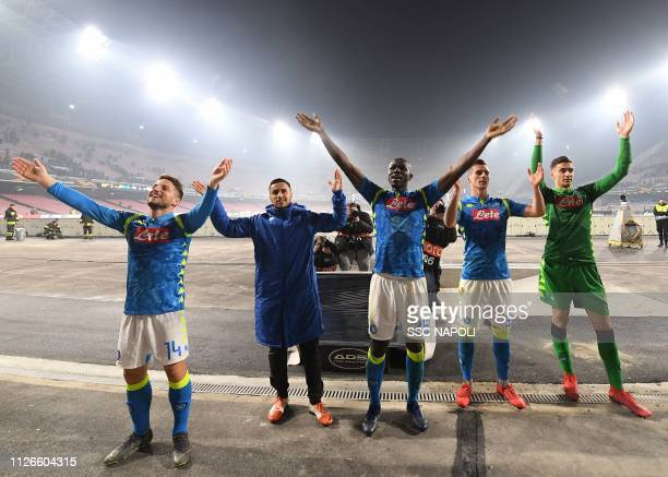 Dries Mertens Kalidou Koulibaly Adam Ounas and Alex Meret of Napoli celebrate after the UEFA Europa League Round of 32 Second Leg match between SSC...