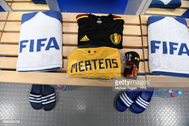 Dries Mertens' kit is seen inside the Belgium dressing room prior to the 2018 FIFA World Cup Russia 3rd Place Playoff match between Belgium and...