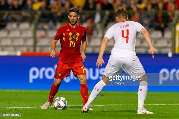 Dries Mertens of Belgium and Nico Elvedi of Switzerland battle for the ball during the UEFA Nations League A group two match between Belgium and...