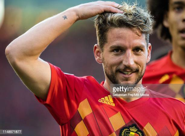 Dries Mertens of Belgium celebrate after scoring 1st goal during the 2020 UEFA European Championships group I qualifying match between Belgium v...