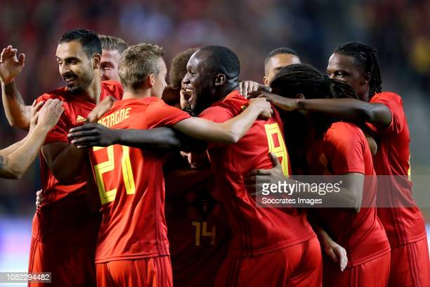 Dries Mertens of Belgium celebrates 10 with Jason Denayer of Belgium Axel Witsel of Belgium Romelu Lukaku of Belgium Nacer Chadli of Belgium Toby...