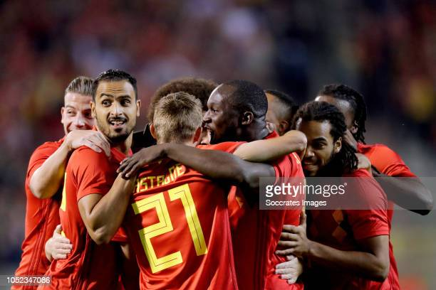 Dries Mertens of Belgium celebrates 10 with Romelu Lukaku of Belgium Axel Witsel of Belgium Jason Denayer of Belgium Toby Alderweireld of Belgium...