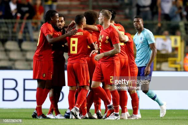 Dries Mertens of Belgium celebrates 10 with Youri Tielemans of Belgium Jason Denayer of Belgium Toby Alderweireld of Belgium Eden Hazard of Belgium...