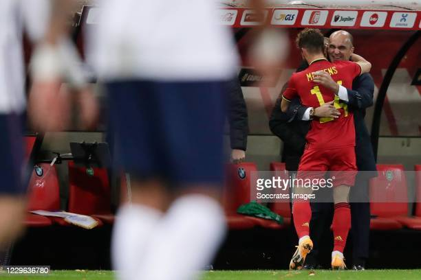Dries Mertens of Belgium celebrates 2-0 with coach Roberto Martinez of Belgium during the UEFA Nations league match between Belgium v England at the...