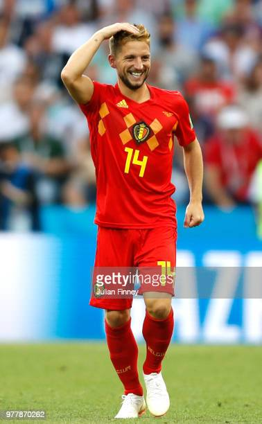 Dries Mertens of Belgium celebrates after scoring his team's first goal during the 2018 FIFA World Cup Russia group G match between Belgium and...