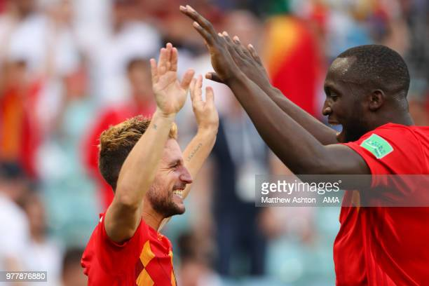 Dries Mertens of Belgium celebrates scoring a goal to make it 10 with Romelu Lukaku during the 2018 FIFA World Cup Russia group G match between...