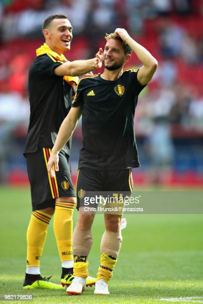 Dries Mertens of Belgium celebrates with teammate Thomas Vermaelen afterthe 2018 FIFA World Cup Russia group G match between Belgium and Tunisia at...