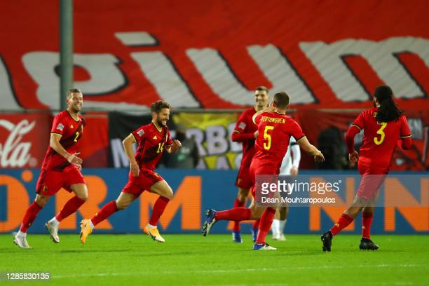 Dries Mertens of Belgium celebrates with teammates after scoring his team's second goal during the UEFA Nations League group stage match between...