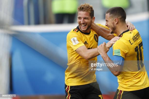 Dries Mertens of Belgium Eden Hazard of Belgium during the 2018 FIFA World Cup Playoff for third place match between Belgium and England at the Saint...