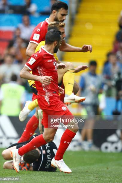 Dries Mertens of Belgium in action against goalkeeper Farouk Ben Mustapha of Tunisia during the 2018 FIFA World Cup Russia group G match between...