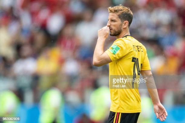 Dries Mertens of Belgium in action during the FIFA World Cup Group G match between Belgium and Tunisia at Spartak Stadium on June 23 2018 in Moscow...