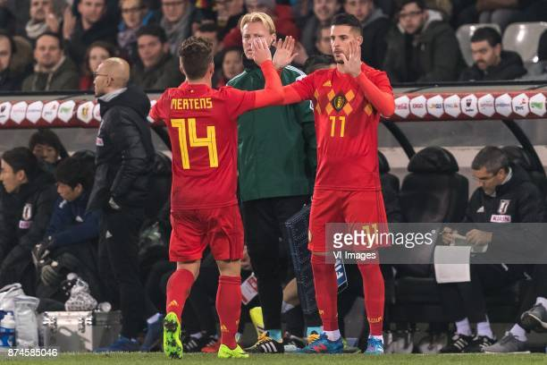Dries Mertens of Belgium Kevin Mirallas of Belgium during the friendly match between Belgium and Japan on November 14 2017 at the Jan Breydel stadium...