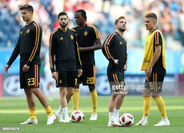 Dries Mertens of Belgium looks on during the warm up prior to the 2018 FIFA World Cup Russia 3rd Place Playoff match between Belgium and England at...