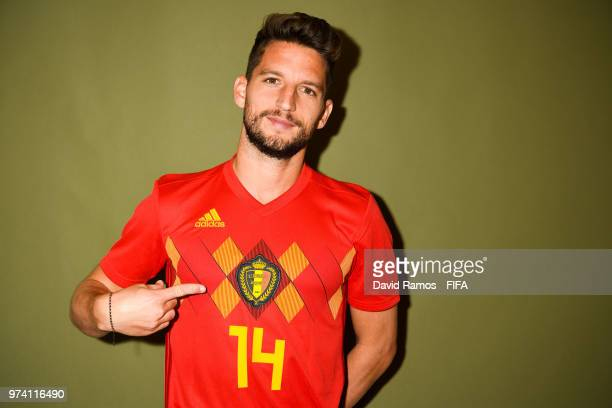 Dries Mertens of Belgium poses during the official FIFA World Cup 2018 portrait session at the Moscow Country Club on June 14 2018 in Moscow Russia