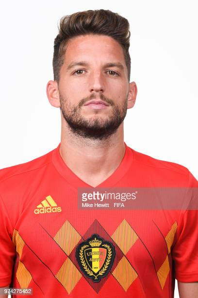Dries Mertens of Belgium poses for a portrait during the official FIFA World Cup 2018 portrait session at the Moscow Country Club on June 14 2018 in...