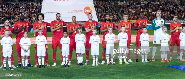 Dries Mertens of Belgium Romelu Lukaku of Belgium Axel Witsel of Belgium Nacer Chadli of Belgium Youri Tielemans of Belgium Toby Alderweireld of...