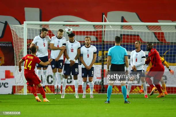 Dries Mertens of Belgium scores his team's second goal from a free-kick during the UEFA Nations League group stage match between Belgium and England...
