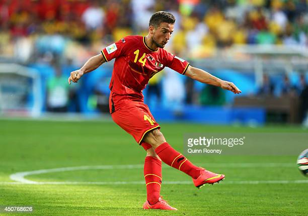 Dries Mertens of Belgium shoots and scores his team's second goal during the 2014 FIFA World Cup Brazil Group H match between Belgium and Algeria at...