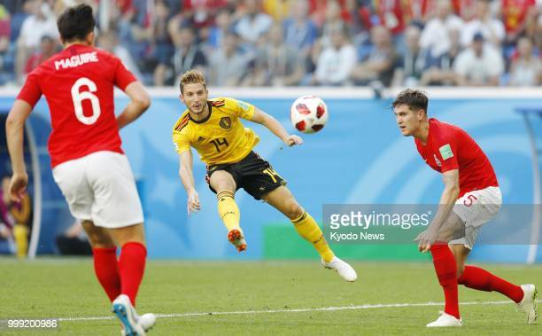 Dries Mertens of Belgium shoots at goal during the second half of a World Cup playoff for third place against England at Saint Petersburg Stadium in...