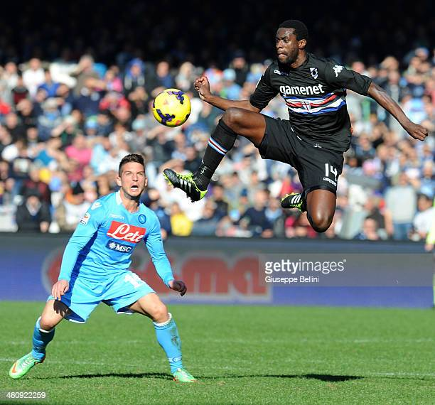 Dries Mertens of Napoli and Pedro Obiang of Sampdoria in action during the Serie A match between SSC Napoli and UC Sampdoria at Stadio San Paolo on...