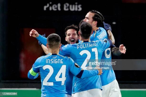 Dries Mertens of Napoli Celebrates 00-1 with Lorenzo Insigne of Napoli, Matteo Politano of Napoli, Ruiz Fabian of Napoli during the UEFA Europa...