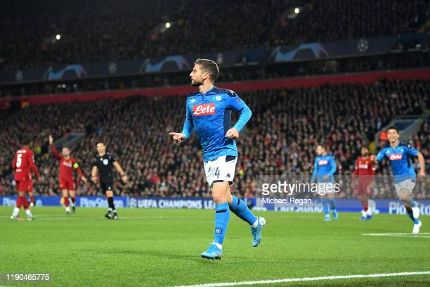 Dries Mertens of Napoli celebrates after scoring his team's first goal during the UEFA Champions League group E match between Liverpool FC and SSC...