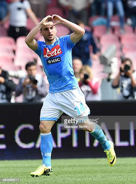 Dries Mertens of Napoli celebrates after scoring the goal 11 during the Serie A match between SSC Napoli and SS Lazio at Stadio San Paolo on April 13...