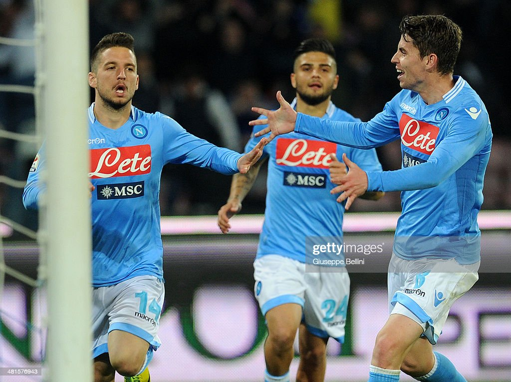 Dries Mertens of Napoli celebrates after scoring the goal 2-0 during the Serie A match between SSC Napoli and Juventus at Stadio San Paolo on March 30, 2014 in Naples, Italy.