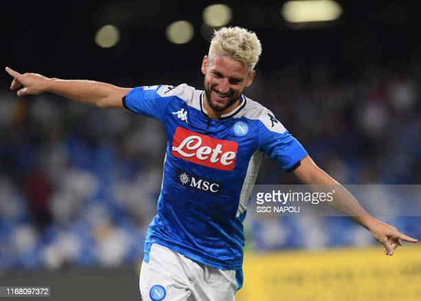 Dries Mertens of Napoli celebrates after scoring the the second goal of his team during the Serie A match between SSC Napoli and UC Sampdoria at...