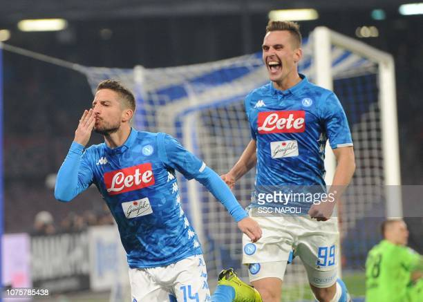 Dries Mertens of Napoli celebrates after scoring the third goal of his team with teammate Arkadiusz Milik during the Serie A match between SSC Napoli...