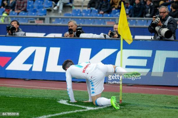 Dries Mertens of Napoli celebrates scoring first goal during the Serie A match between Roma and Napoli at Stadio Olimpico, Rome, Italy on 4 March...