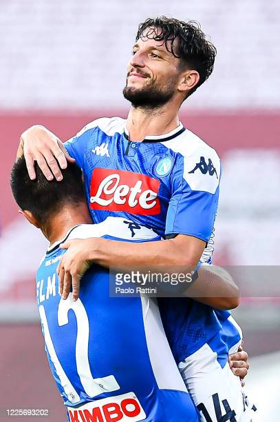 Dries Mertens of Napoli celebrates with his teammate Eljif Elmas after scoring a goal during the Serie A match between Genoa CFC and SSC Napoli at...