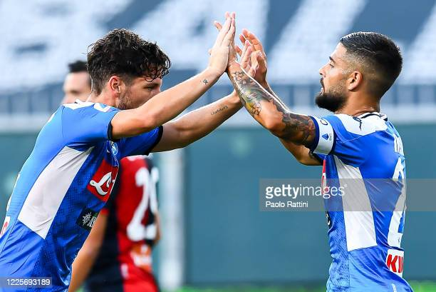 Dries Mertens of Napoli celebrates with his teammate Lorenzo Insigne after scoring a goal during the Serie A match between Genoa CFC and SSC Napoli...