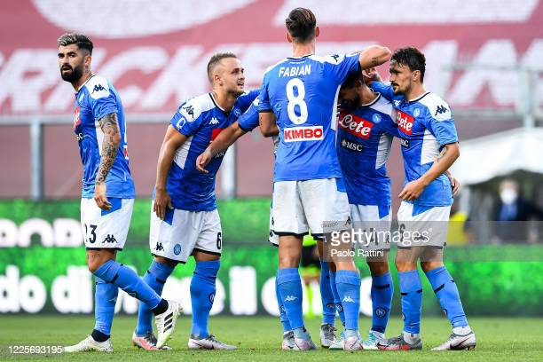 Dries Mertens of Napoli celebrates with his teammates after scoring a goal during the Serie A match between Genoa CFC and SSC Napoli at Stadio Luigi...