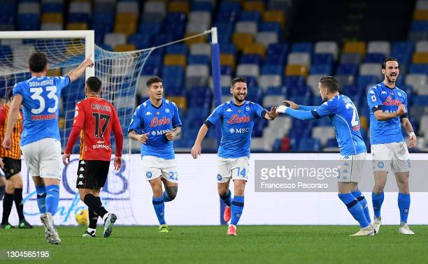 Dries Mertens of Napoli celebrates with team mates Giovanni Di Lorenzo, Piotr Zielinski and Fabian after scoring their side's first goal during the...