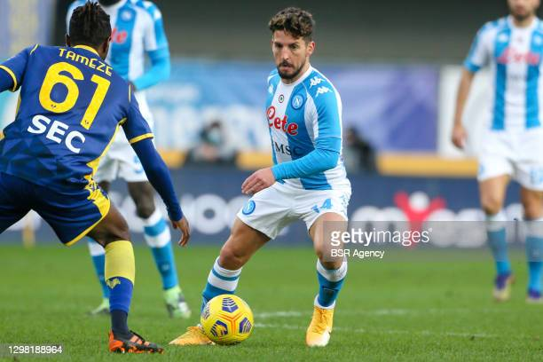 Dries Mertens of Napoli during the Serie A match between Hellas Verona FC and SSC Napoli at Stadio Marcantonio Bentegodi on January 24, 2021 in...