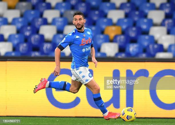 Dries Mertens of Napoli during the Serie A match between SSC Napoli and Benevento Calcio at Stadio Diego Armando Maradona on February 28, 2021 in...